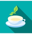 Cup of tea with mint leaves icon flat style vector image vector image
