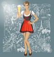 cute woman in drindl with beer against love vector image vector image