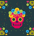 day of the dead skull with floral ornament dark vector image