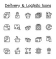delivery and logistic icon set in thin line style vector image