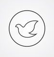dove outline symbol dark on white background logo vector image vector image