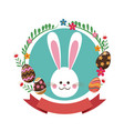 Easter bunny flowers ribbon label