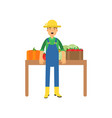farmer character in overalls standing near counter vector image