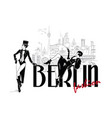 fashion woman in sketch style in berlin vector image