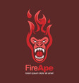 fire red hot ape monkey angry mascot logo vector image vector image