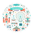 flat amusement park set vector image