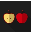 Flat apple with long shadow icon vector image
