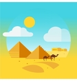Flat Design Landscape with Camel and Egyptian vector image vector image