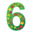 floral number 6 vector image vector image