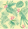 flowers tropical leaves beach background pattern vector image vector image