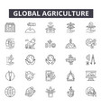 global agriculture line icons for web and mobile vector image