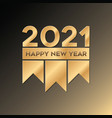 golden happy new year 2021 luxury design vector image