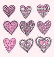 hand drawn hearts vector image vector image