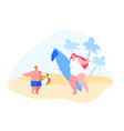 happy young mother with surf board and little boy vector image