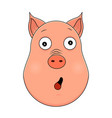 head of amazed pig in cartoon style kawaii animal vector image vector image