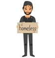 Homeless man in dirty old clothes vector image