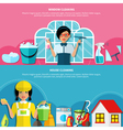 House Cleaning Banners Set vector image vector image