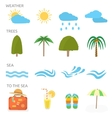 Icons set of traveling and planning vacation vector image vector image