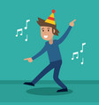 man cheerful dance party vector image vector image
