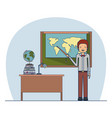 man teacher in formal suit on classroom with desk vector image vector image