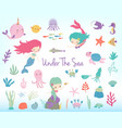 mermaids sea animals and sea plants vector image vector image