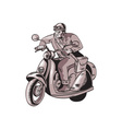 messenger riding vintage scooter etching vector image vector image