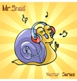 Mr Snail with music vector image