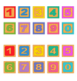 numbers wooden blocks vector image vector image