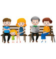 people in family sitting on bench vector image