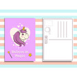 postcard invitation template with cute unicorn vector image vector image