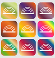 rainbow icon Nine buttons with bright gradients vector image vector image
