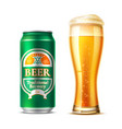 realistic beer glass lager beer bottle vector image