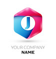 realistic letter j in colorful hexagonal vector image