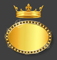 Royal crown and golden frame empty banner