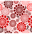 Seamless floral background in red vector image vector image