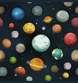 seamless planets and asteroid background vector image