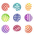 set of abstract spiral logos colorful ball shapes vector image