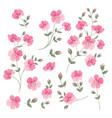 set of linen flowers elements vector image vector image