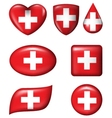 Switzerland flag in various shape glossy button vector image vector image