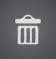 trash bin sketch logo doodle icon vector image