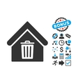Trash House Flat Icon with Bonus vector image