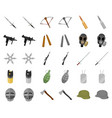 types of weapons cartoonmonochrom icons in set vector image vector image