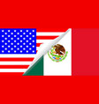 united states and mexico flags combined vector image