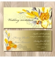 Wedding card with yellow iris bouquet background vector image vector image