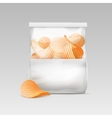 White Sealed Transparent Plastic Bag with Chips vector image vector image