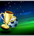 winning golden trophy with football background vector image
