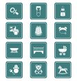 babies icons teal series vector image vector image