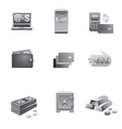 banking icons grayscale vector image vector image