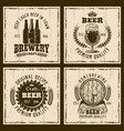 beer vintage emblems labels prints vector image vector image