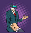 businessman shaking hands in virtual reality a vector image vector image